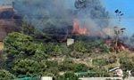 Incendio a a Bussana, le fiamme vicino alle serre