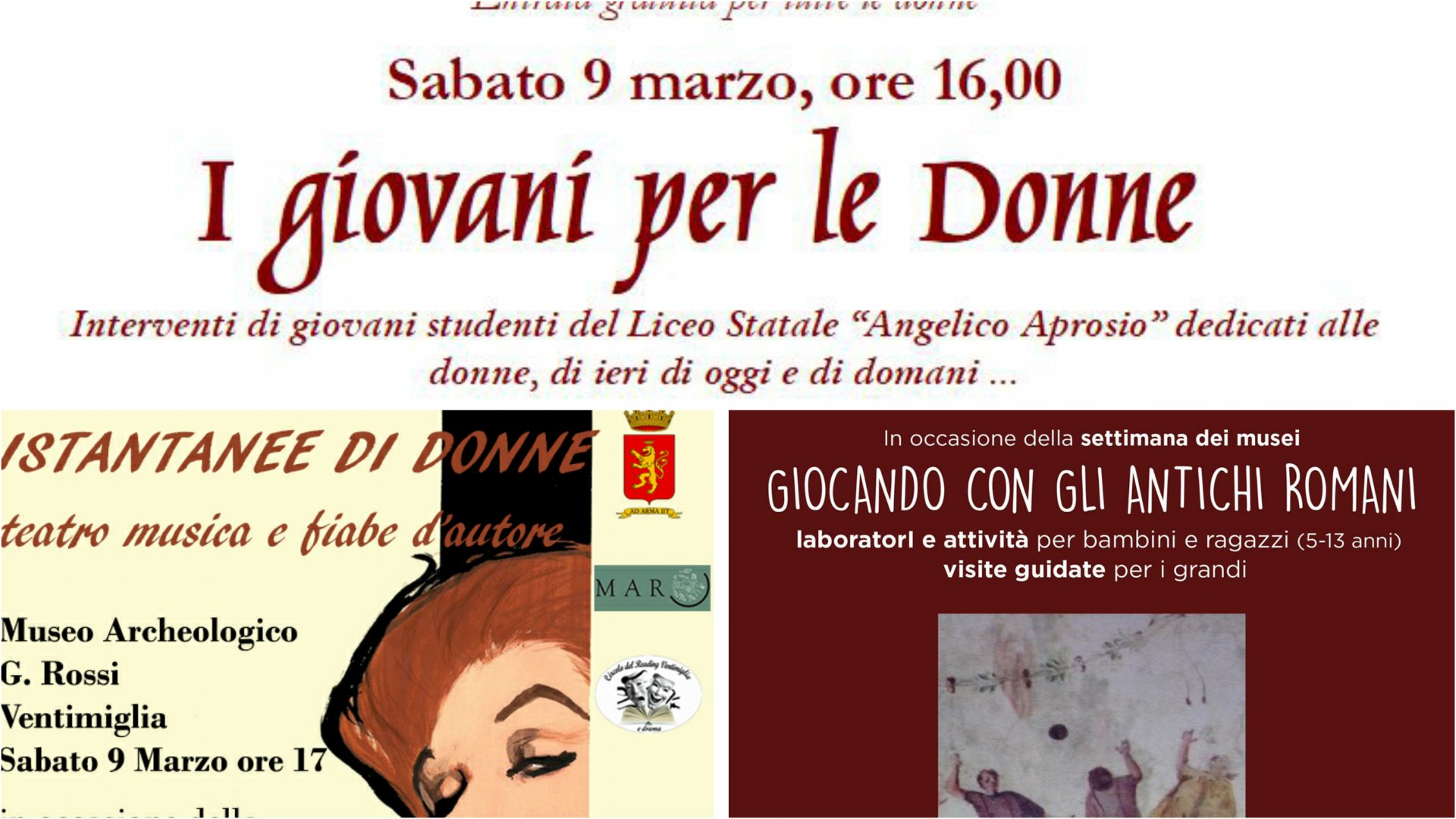 ca1d85f9ca Festa della Donna al museo - Le iniziative a Ventimiglia e nell'Area  Archeologica di Nervia - La Riviera
