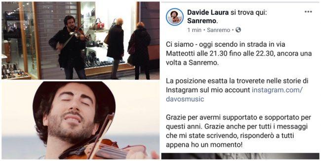 """""""Addio  Sanremo, stasera ultima esibizione"""". Il violinista Davide Laura via per un anno"""