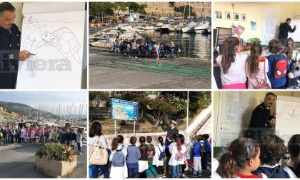Gli alunni delle primarie in visita al porto di Bordighera. Foto