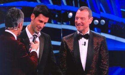 """Il tennista Djokovic all'Ariston saluta Fabio Fognini: """"È un fenomeno"""""""