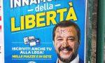 """""""A testa in giù m…"""": imbrattato il manifesto di Salvini a Ventimiglia"""