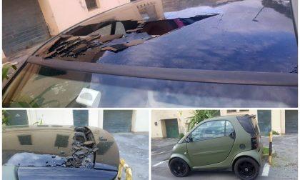 Vive a Sanremo ma trova danneggiata la propria auto targata Milano. Foto