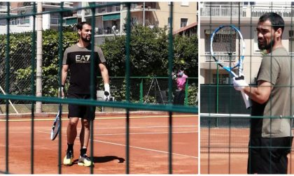 Il tennista Fabio Fognini si allena ad Arma di Taggia