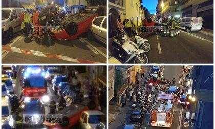 Auto cappottata in via Martiri a Sanremo panico e strada bloccata, un ferito