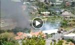 Brucia un casolare sulla strada per Badalucco a Taggia. Video