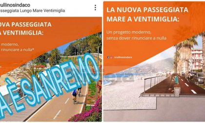Ventimiglia promuove la pista ciclabile ma sbaglia foto e mette quella di Sanremo