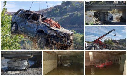 Un cimitero di auto e tir dopo l'alluvione del 2 ottobre a Ventimiglia