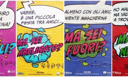 Manifesti a fumetti in città per la campagna contro il Coronavirus. Foto