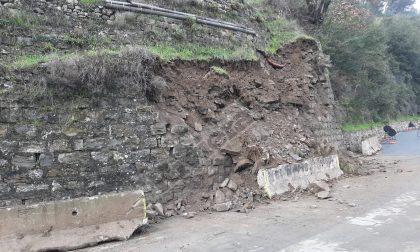 Crolla muraglione a Soldano, provinciale val Crosia è a senso unico alternato