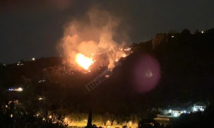 Incendio boschivo vicino alle case a Sanremo