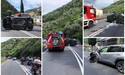 Frontale tra due auto sulla statale 28 a Pontedassio: due feriti e traffico in tilt