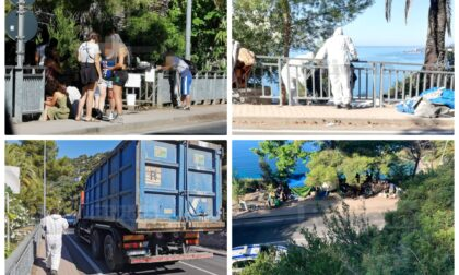 Ventimiglia: polizia locale e Docks Lanterna puliscono tendopoli abusiva di migranti e no border