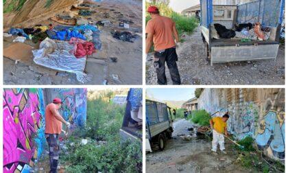 Il Comune pulisce un accampamento abusivo dei migranti