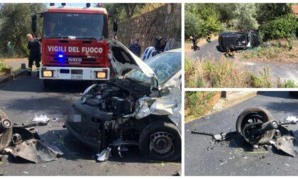 Violento schianto tra due auto a Imperia: Jeep vola sotto strada, 3 feriti