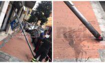 Crolla palo della segnaletica, tragedia sfiorata a Ventimiglia