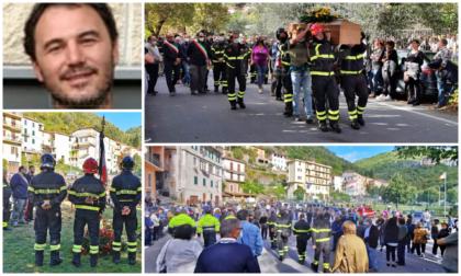 In centinaia a Pigna per l'ultimo saluto al vigile del fuoco Andrea Pastor